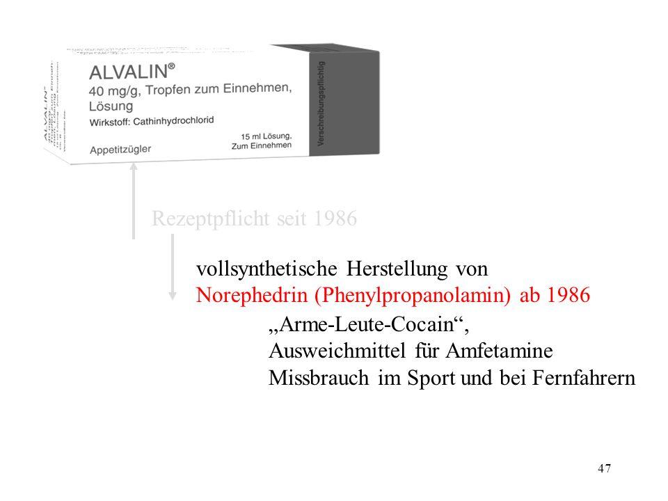 46 Rezeptpflicht seit 1986 vollsynthetische Herstellung von Norephedrin (Phenylpropanolamin) ab 1986 bei Konsum der Khatblätter entstehendes psychoaktives Abbauprodukt