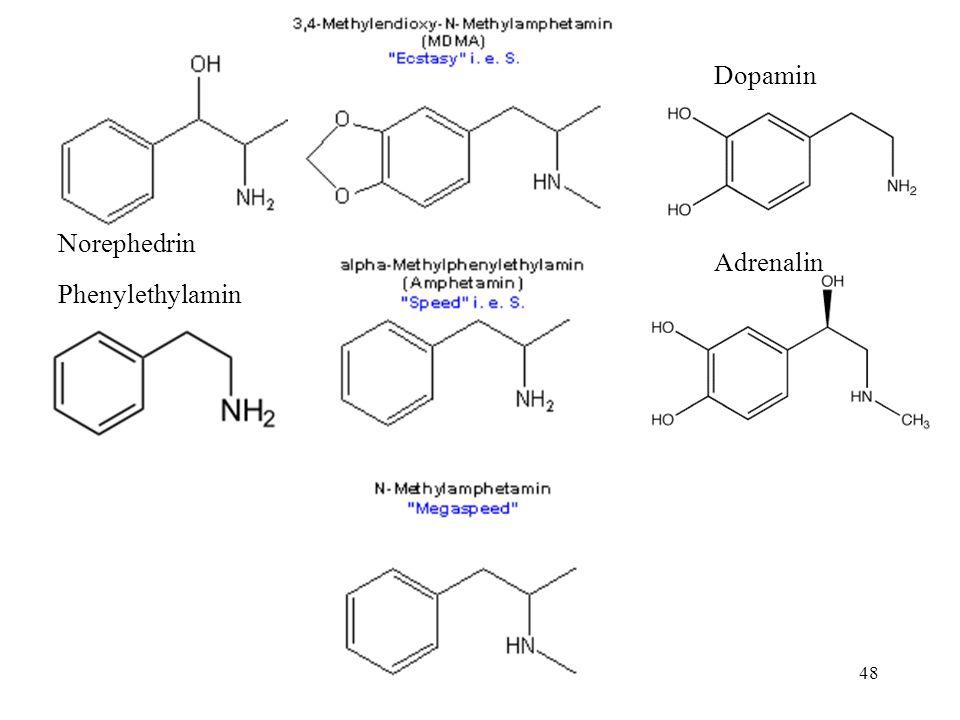 """47 Rezeptpflicht seit 1986 vollsynthetische Herstellung von Norephedrin (Phenylpropanolamin) ab 1986 """"Arme-Leute-Cocain , Ausweichmittel für Amfetamine Missbrauch im Sport und bei Fernfahrern"""