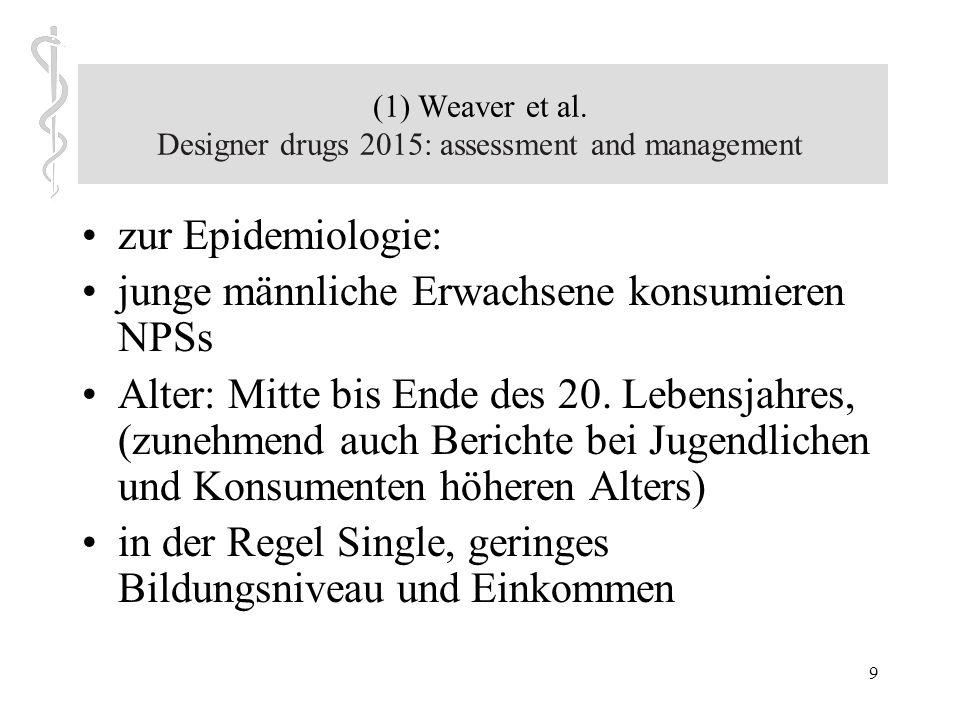 8 (1) Weaver et al. Designer drugs 2015: assessment and management Artikel konzentriert sich auf drei neuere Designerdrogen: –Cathinone (allgemein als