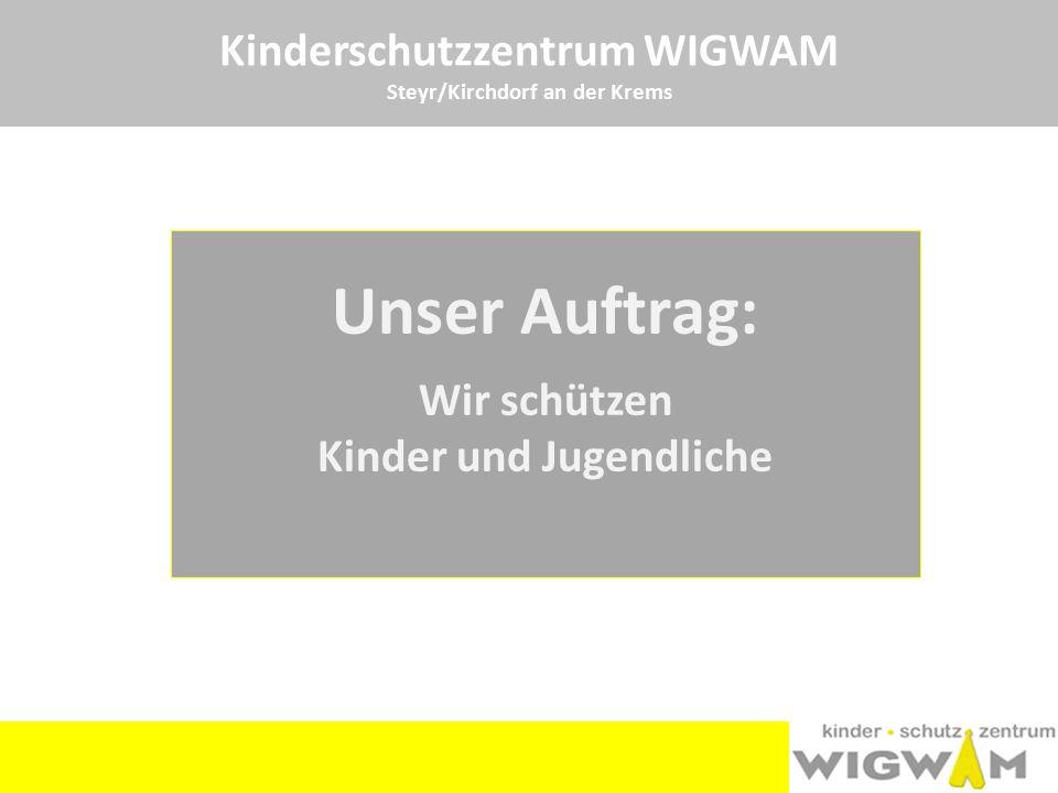 Kinderschutzzentrum WIGWAM Steyr/Kirchdorf an der Krems Unser Team in Kirchdorf: eine Sozialarbeiterin eine Psychotherapeutin, ein Psychotherapeut Mag.