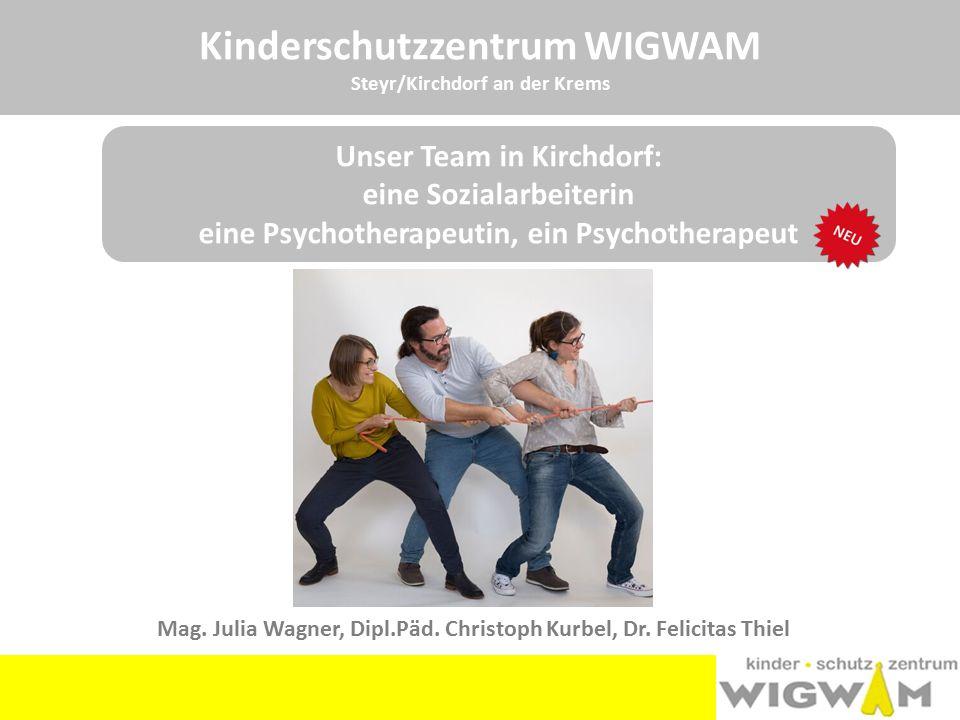 Kinderschutzzentrum WIGWAM Steyr/Kirchdorf an der Krems Unser Team in Kirchdorf: eine Sozialarbeiterin eine Psychotherapeutin, ein Psychotherapeut Mag