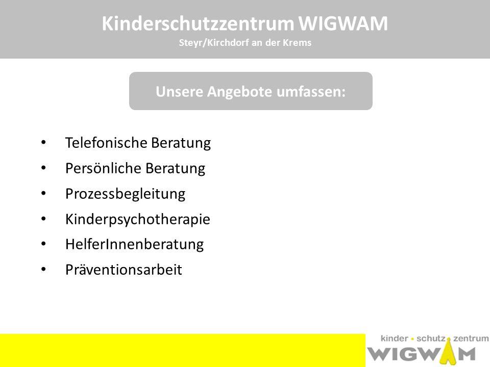Kinderschutzzentrum WIGWAM Steyr/Kirchdorf an der Krems Telefonische Beratung Persönliche Beratung Prozessbegleitung Kinderpsychotherapie HelferInnenb