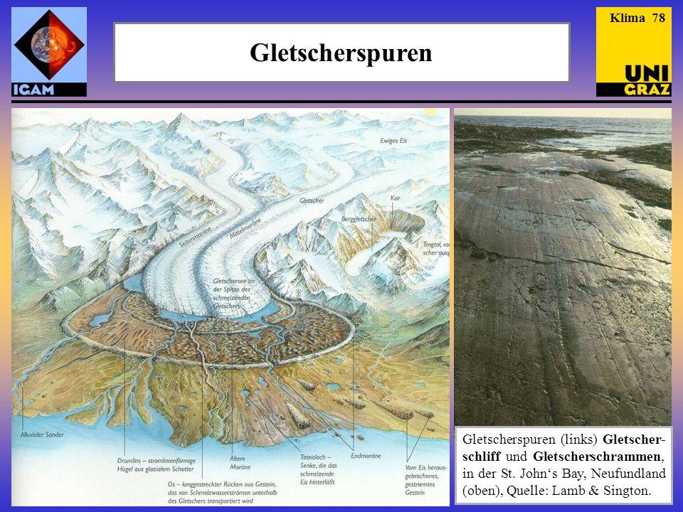 Gletscherspuren Gletscherspuren (links) Gletscher- schliff und Gletscherschrammen, in der St. John's Bay, Neufundland (oben), Quelle: Lamb & Sington.