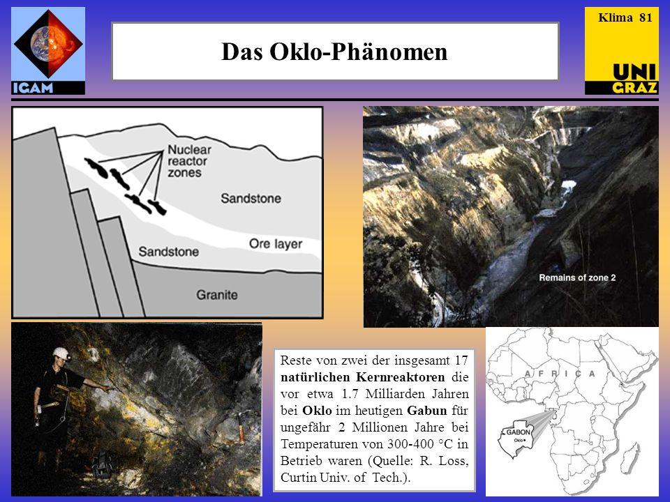 Das Oklo-Phänomen Reste von zwei der insgesamt 17 natürlichen Kernreaktoren die vor etwa 1.7 Milliarden Jahren bei Oklo im heutigen Gabun für ungefähr 2 Millionen Jahre bei Temperaturen von 300-400 °C in Betrieb waren (Quelle: R.