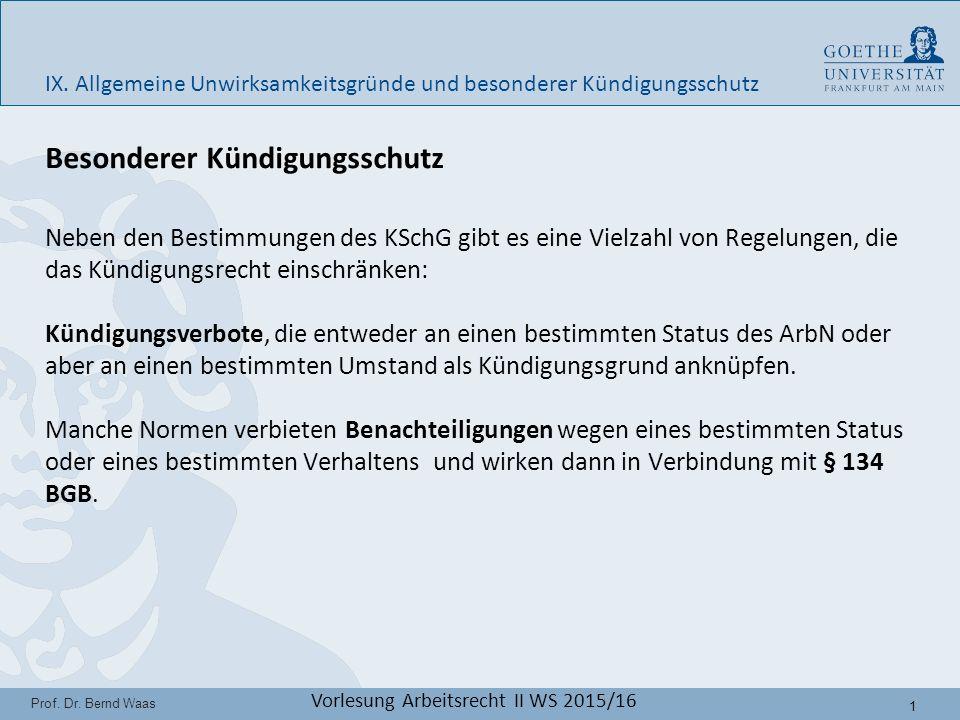 12 Prof.Dr. Bernd Waas Vorlesung Arbeitsrecht II WS 2015/16 IX.