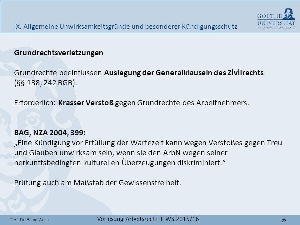 23 Prof. Dr. Bernd Waas Vorlesung Arbeitsrecht II WS 2015/16 IX.