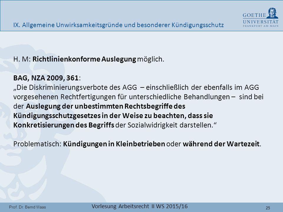 25 Prof. Dr. Bernd Waas Vorlesung Arbeitsrecht II WS 2015/16 H.
