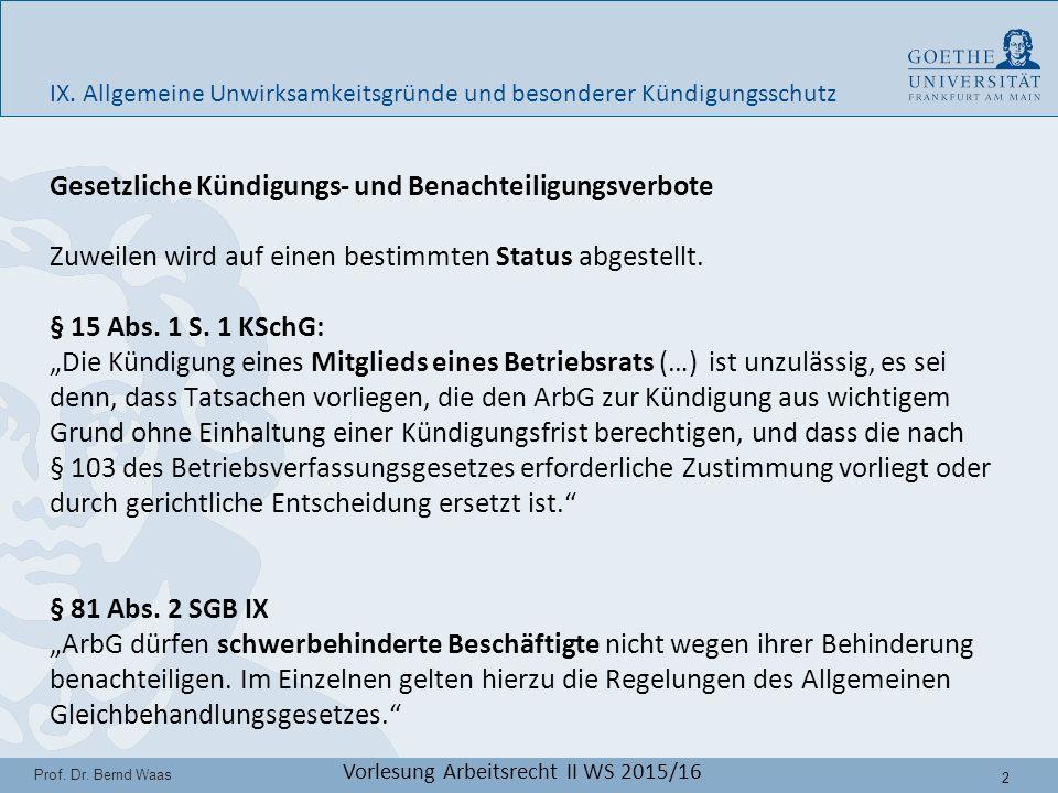 23 Prof.Dr. Bernd Waas Vorlesung Arbeitsrecht II WS 2015/16 IX.