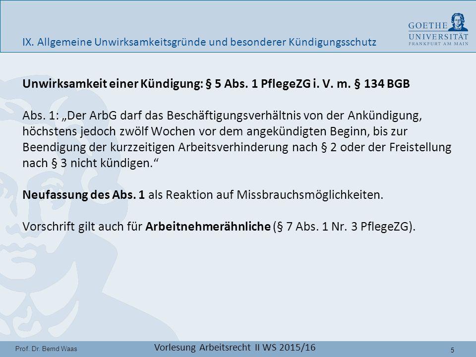 26 Prof.Dr. Bernd Waas Vorlesung Arbeitsrecht II WS 2015/16 IX.