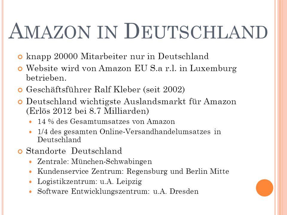 knapp 20000 Mitarbeiter nur in Deutschland Website wird von Amazon EU S.a r.l.