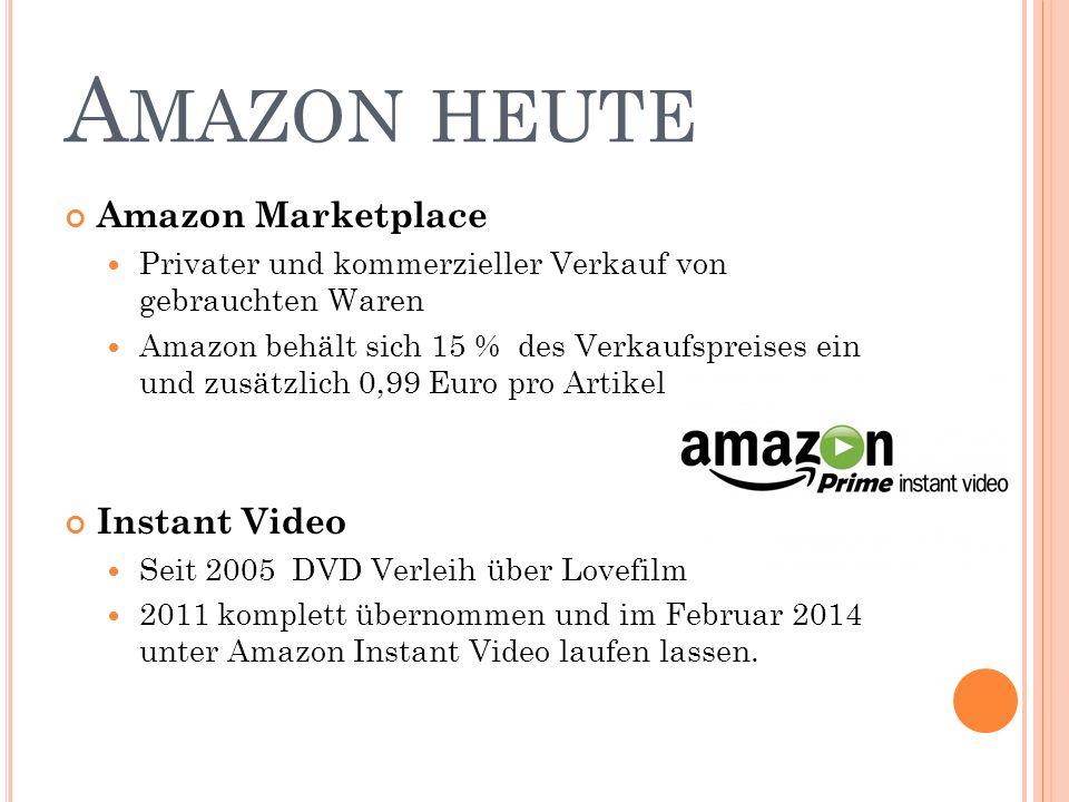 A MAZON HEUTE Amazon Marketplace Privater und kommerzieller Verkauf von gebrauchten Waren Amazon behält sich 15 % des Verkaufspreises ein und zusätzlich 0,99 Euro pro Artikel Instant Video Seit 2005 DVD Verleih über Lovefilm 2011 komplett übernommen und im Februar 2014 unter Amazon Instant Video laufen lassen.