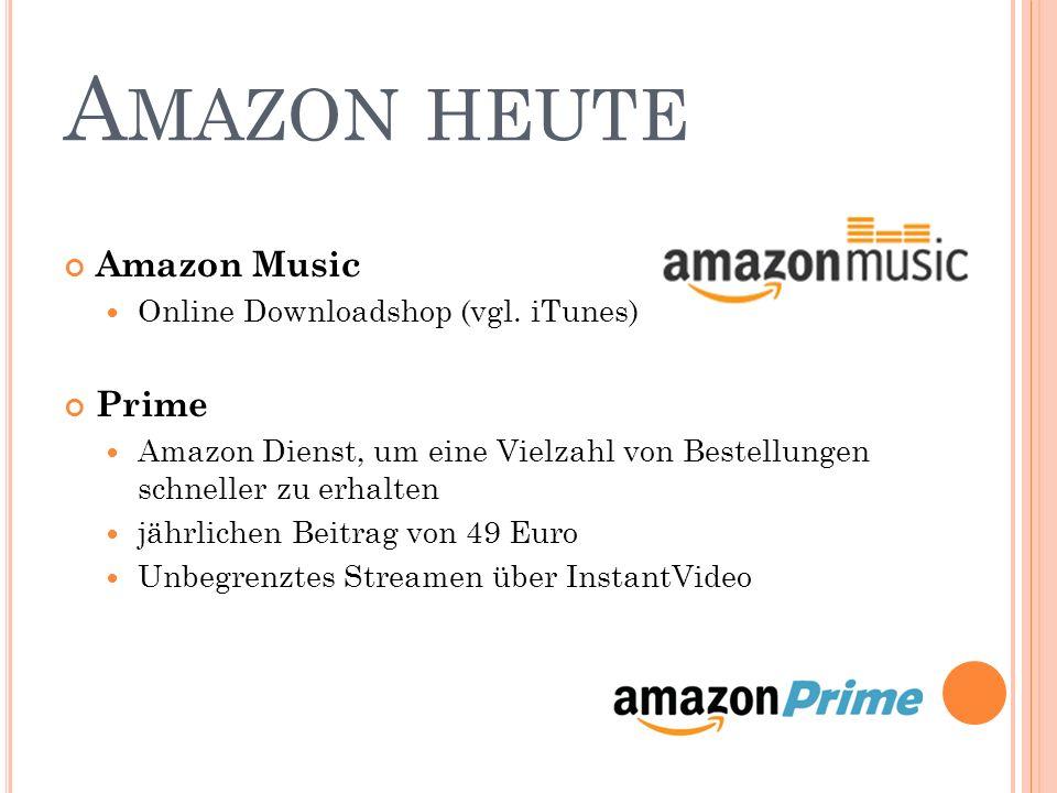 A MAZON HEUTE Amazon Music Online Downloadshop (vgl. iTunes) Prime Amazon Dienst, um eine Vielzahl von Bestellungen schneller zu erhalten jährlichen B