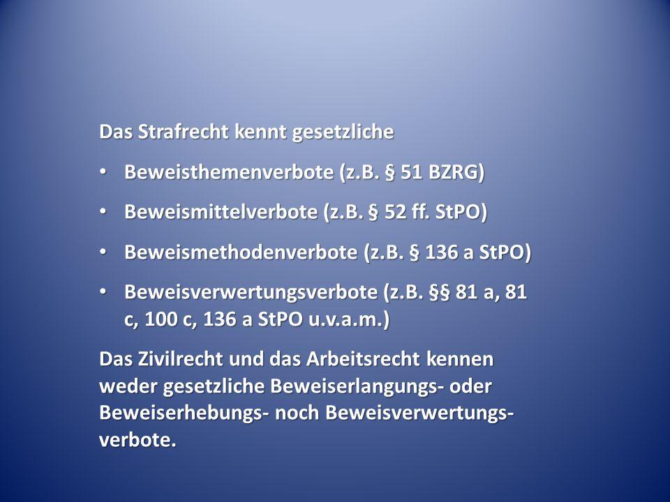 Das Strafrecht kennt gesetzliche Beweisthemenverbote (z.B. § 51 BZRG) Beweisthemenverbote (z.B. § 51 BZRG) Beweismittelverbote (z.B. § 52 ff. StPO) Be