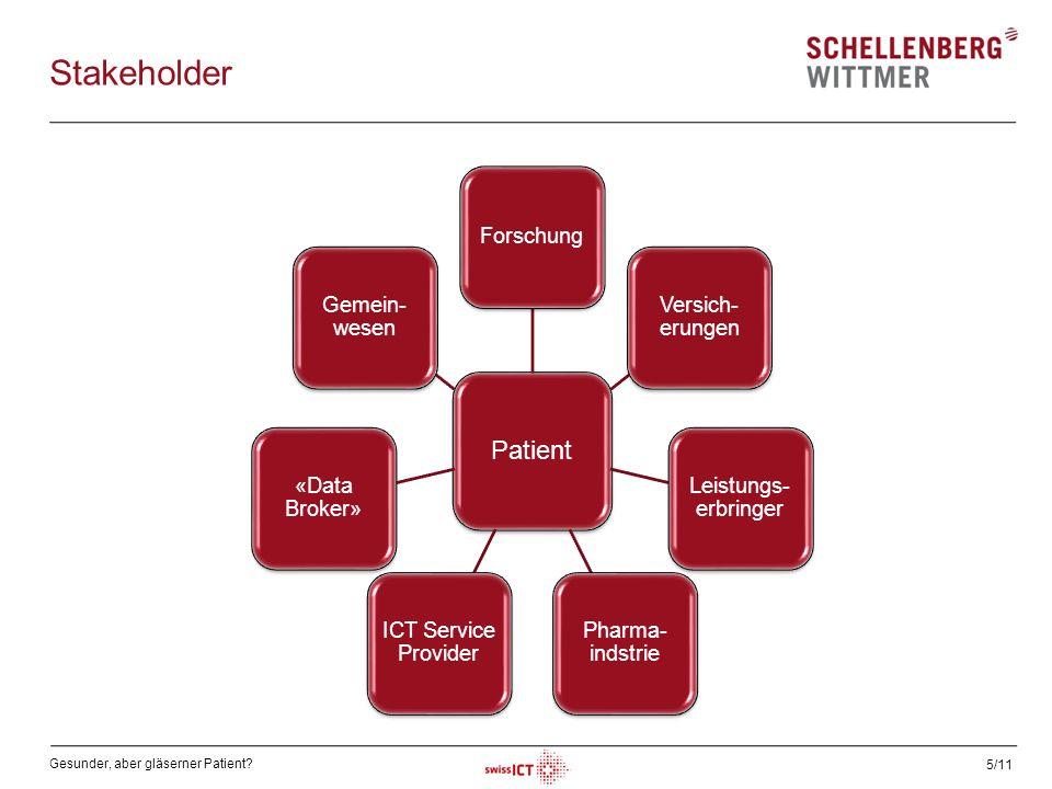 Gesunder, aber gläserner Patient? 5/11 Stakeholder Patient Forschung Versich- erungen Leistungs- erbringer Pharma- indstrie ICT Service Provider «Data