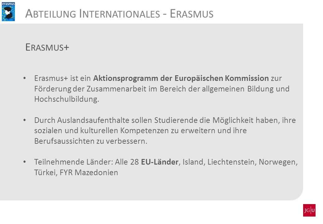 Erasmus+ ist ein Aktionsprogramm der Europäischen Kommission zur Förderung der Zusammenarbeit im Bereich der allgemeinen Bildung und Hochschulbildung.