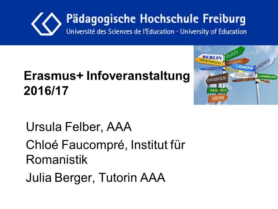 Erasmus+ Infoveranstaltung 2016/17 Ursula Felber, AAA Chloé Faucompré, Institut für Romanistik Julia Berger, Tutorin AAA