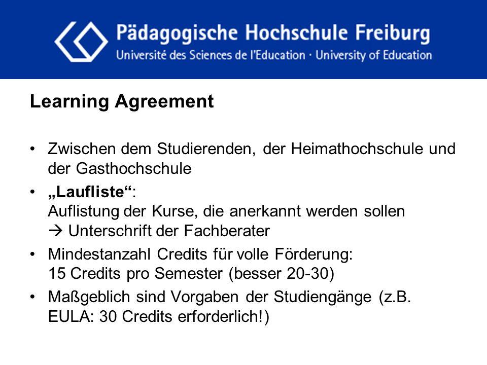 """fdgfg Learning Agreement Zwischen dem Studierenden, der Heimathochschule und der Gasthochschule """"Laufliste"""": Auflistung der Kurse, die anerkannt werde"""