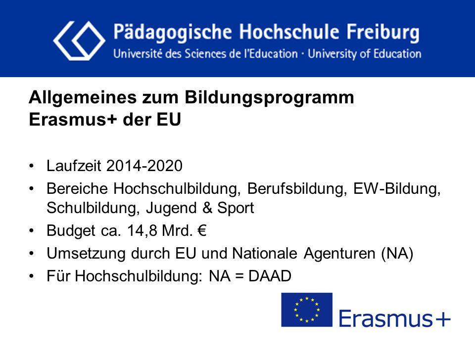 fdgfg Allgemeines zum Bildungsprogramm Erasmus+ der EU Laufzeit 2014-2020 Bereiche Hochschulbildung, Berufsbildung, EW-Bildung, Schulbildung, Jugend &