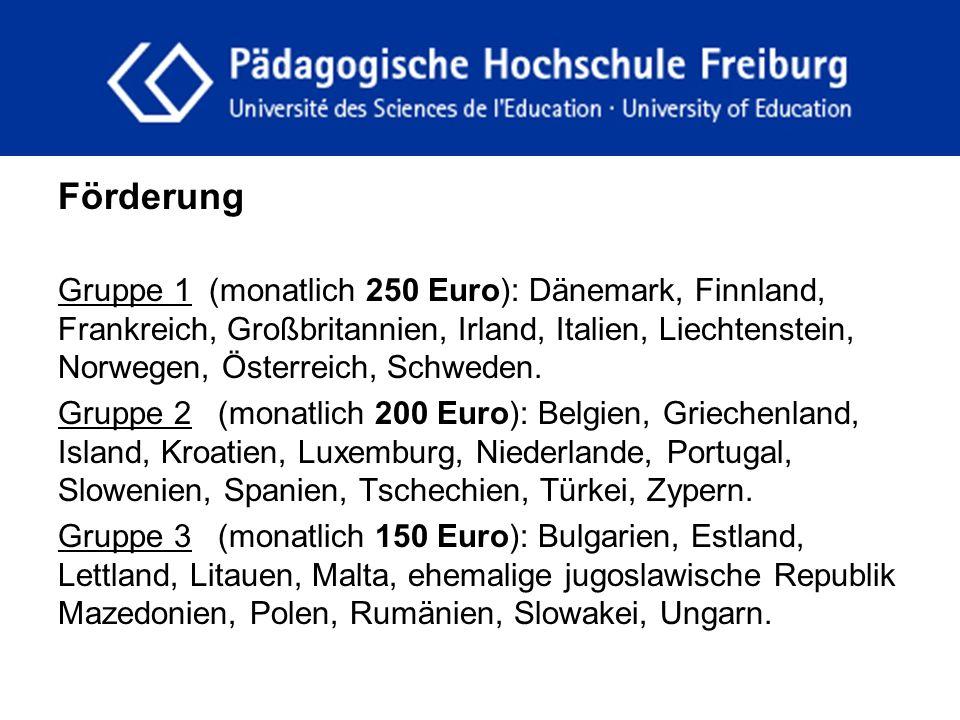 fdgfg Förderung Gruppe 1 (monatlich 250 Euro): Dänemark, Finnland, Frankreich, Großbritannien, Irland, Italien, Liechtenstein, Norwegen, Österreich, S