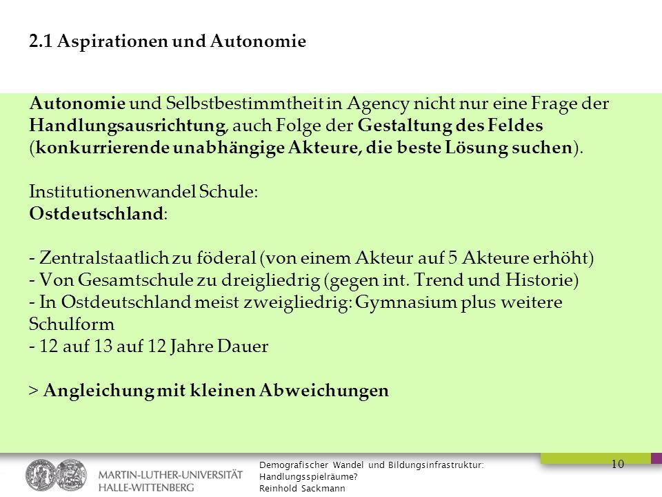 Demografischer Wandel und Bildungsinfrastruktur: Handlungsspielräume? Reinhold Sackmann 10 2.1 Aspirationen und Autonomie Autonomie und Selbstbestimmt