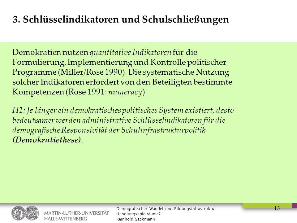 Demografischer Wandel und Bildungsinfrastruktur: Handlungsspielräume? Reinhold Sackmann 13 3. Schlüsselindikatoren und Schulschließungen Demokratien n