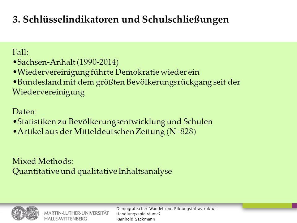 Demografischer Wandel und Bildungsinfrastruktur: Handlungsspielräume? Reinhold Sackmann 3. Schlüsselindikatoren und Schulschließungen Fall: Sachsen-An