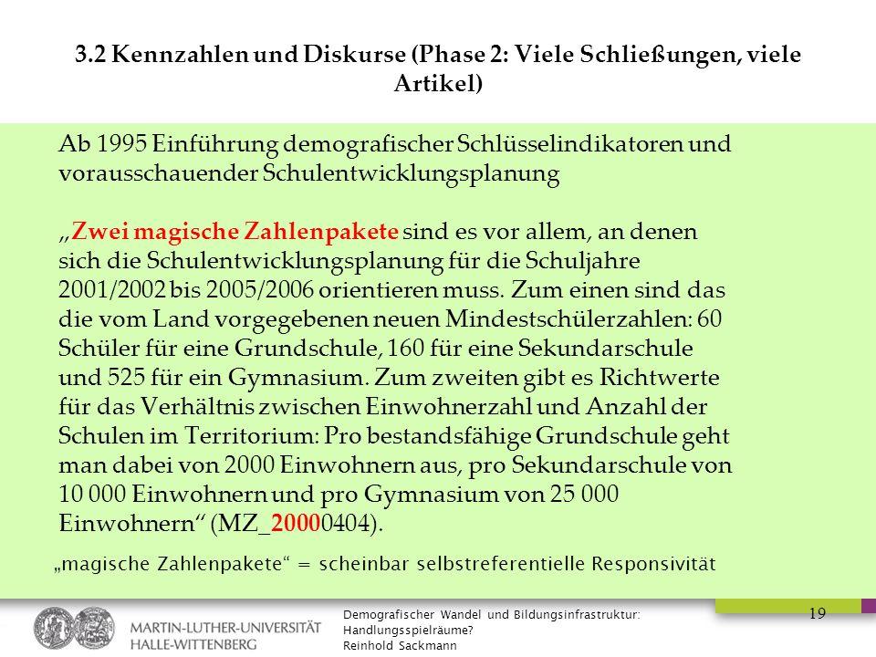 Demografischer Wandel und Bildungsinfrastruktur: Handlungsspielräume? Reinhold Sackmann 19 3.2 Kennzahlen und Diskurse (Phase 2: Viele Schließungen, v