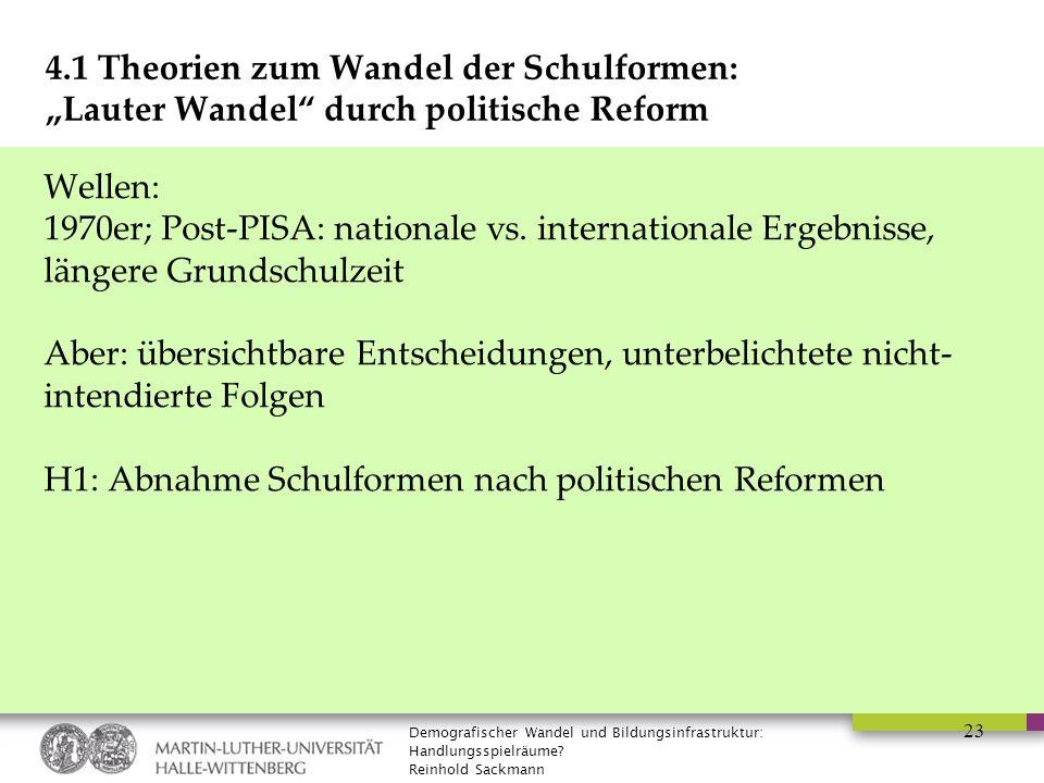 """Demografischer Wandel und Bildungsinfrastruktur: Handlungsspielräume? Reinhold Sackmann 23 4.1 Theorien zum Wandel der Schulformen: """"Lauter Wandel"""" du"""