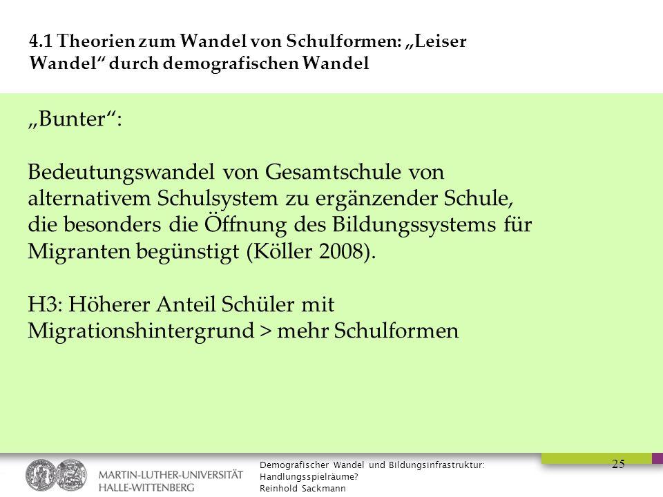 """Demografischer Wandel und Bildungsinfrastruktur: Handlungsspielräume? Reinhold Sackmann 25 4.1 Theorien zum Wandel von Schulformen: """"Leiser Wandel"""" du"""