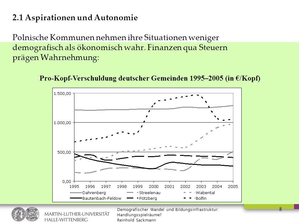Demografischer Wandel und Bildungsinfrastruktur: Handlungsspielräume? Reinhold Sackmann 8 2.1 Aspirationen und Autonomie Polnische Kommunen nehmen ihr