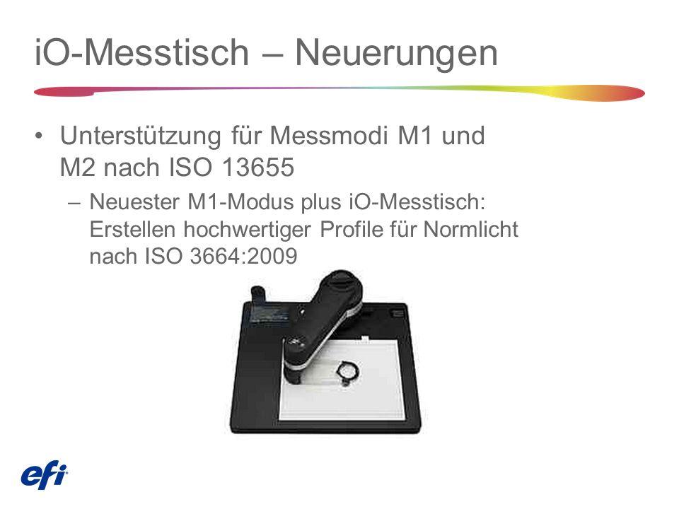 iO-Messtisch – Neuerungen Unterstützung für Messmodi M1 und M2 nach ISO 13655 –Neuester M1-Modus plus iO-Messtisch: Erstellen hochwertiger Profile für Normlicht nach ISO 3664:2009