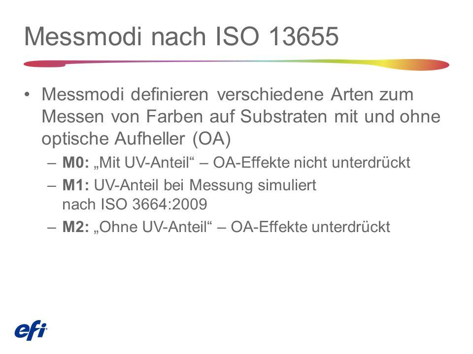 """Messmodi nach ISO 13655 Messmodi definieren verschiedene Arten zum Messen von Farben auf Substraten mit und ohne optische Aufheller (OA) –M0: """"Mit UV-Anteil – OA-Effekte nicht unterdrückt –M1: UV-Anteil bei Messung simuliert nach ISO 3664:2009 –M2: """"Ohne UV-Anteil – OA-Effekte unterdrückt"""