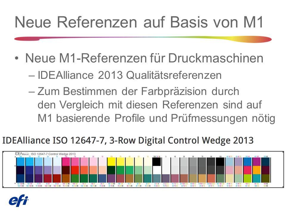Neue Referenzen auf Basis von M1 Neue M1-Referenzen für Druckmaschinen –IDEAlliance 2013 Qualitätsreferenzen –Zum Bestimmen der Farbpräzision durch den Vergleich mit diesen Referenzen sind auf M1 basierende Profile und Prüfmessungen nötig