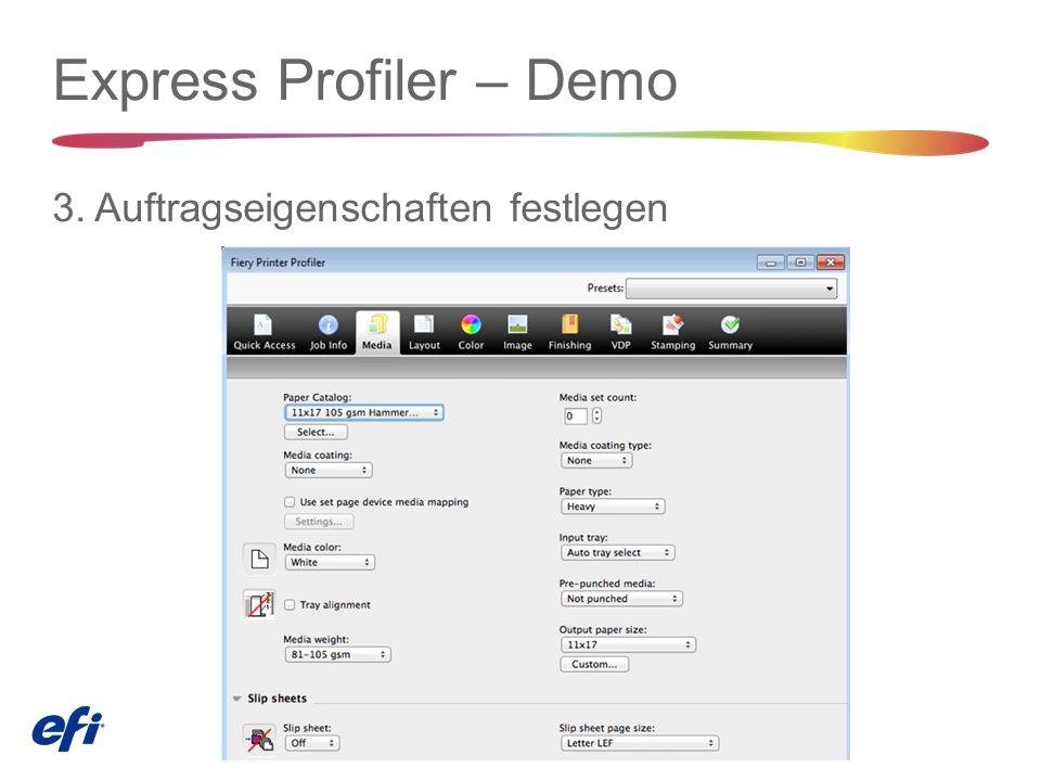 Express Profiler – Demo 3. Auftragseigenschaften festlegen