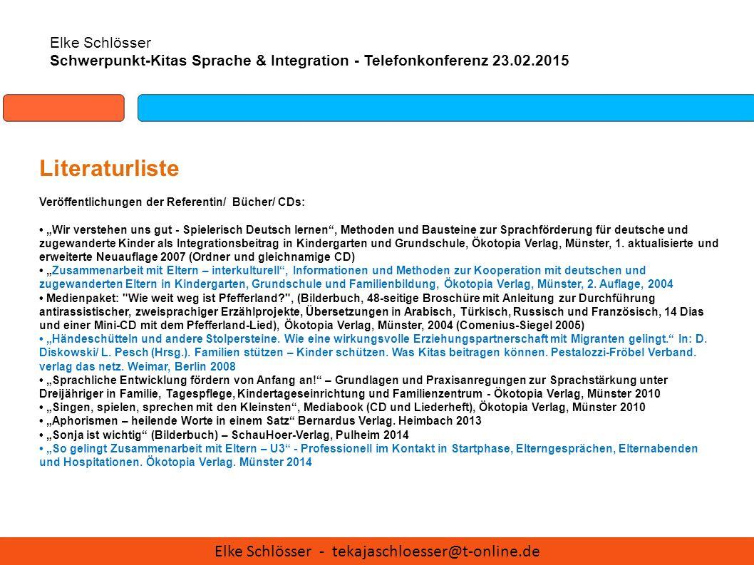 """Elke Schlösser Schwerpunkt-Kitas Sprache & Integration - Telefonkonferenz 23.02.2015 Literaturliste Veröffentlichungen der Referentin/ Bücher/ CDs: """"W"""