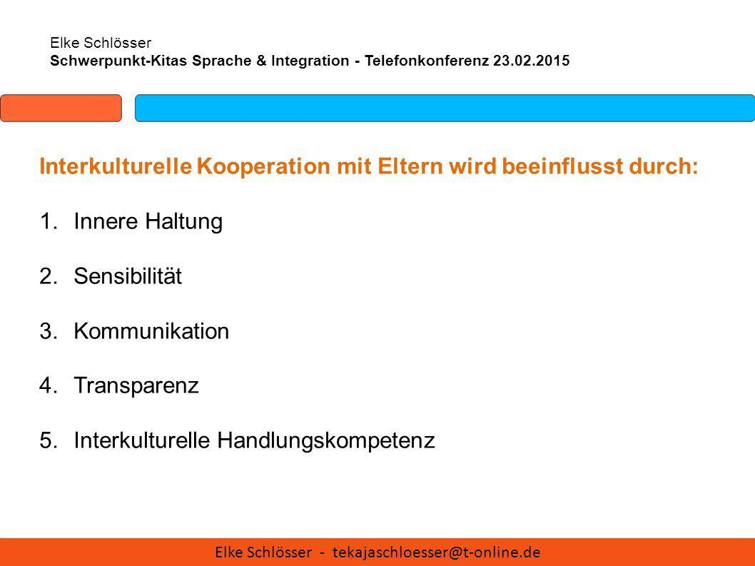 Elke Schlösser Schwerpunkt-Kitas Sprache & Integration - Telefonkonferenz 23.02.2015 Interkulturelle Kooperation mit Eltern wird beeinflusst durch: 1.