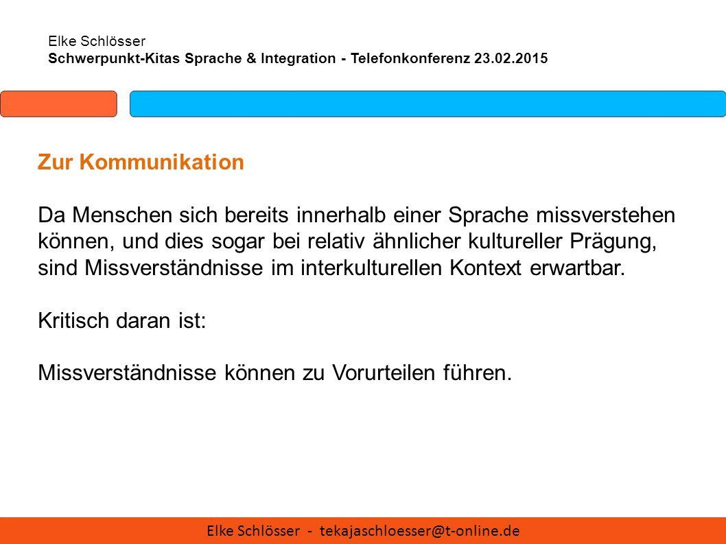 Elke Schlösser Schwerpunkt-Kitas Sprache & Integration - Telefonkonferenz 23.02.2015 Zur Kommunikation Da Menschen sich bereits innerhalb einer Sprach