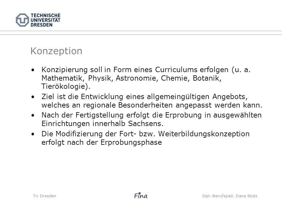 Konzeption Konzipierung soll in Form eines Curriculums erfolgen (u. a. Mathematik, Physik, Astronomie, Chemie, Botanik, Tierökologie). Ziel ist die En