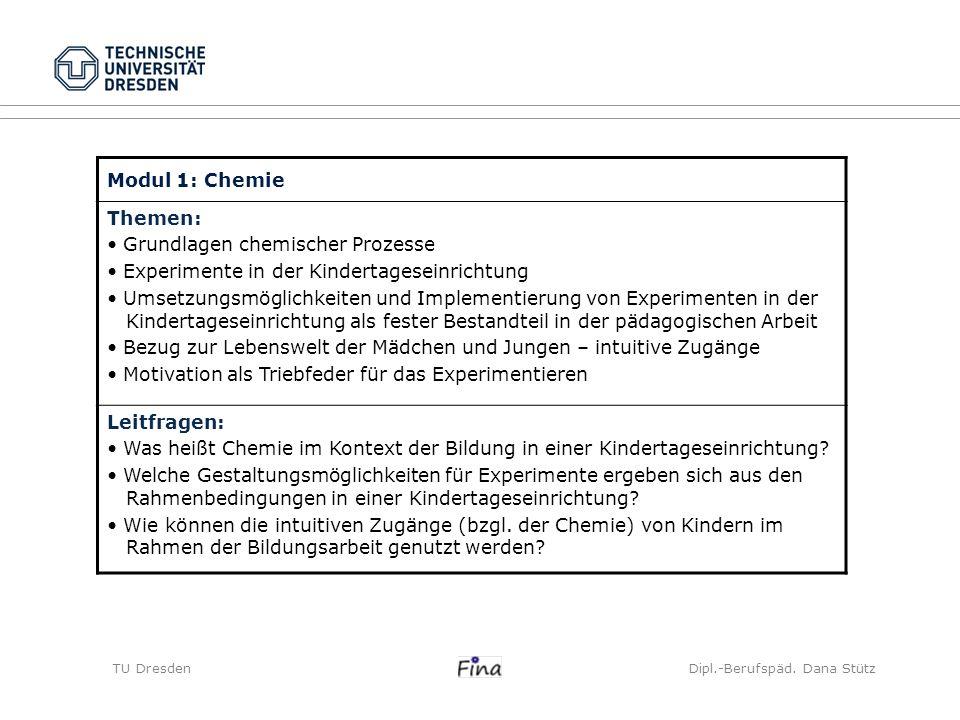 Modul 1: Chemie Themen: Grundlagen chemischer Prozesse Experimente in der Kindertageseinrichtung Umsetzungsmöglichkeiten und Implementierung von Exper