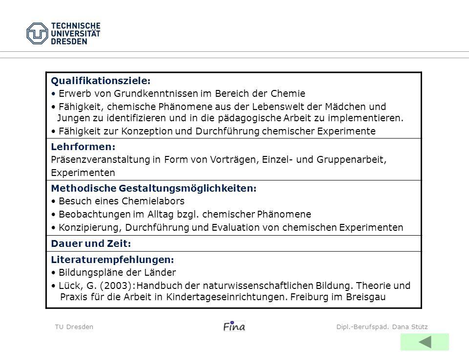 TU DresdenDipl.-Berufspäd. Dana Stütz Qualifikationsziele: Erwerb von Grundkenntnissen im Bereich der Chemie Fähigkeit, chemische Phänomene aus der Le