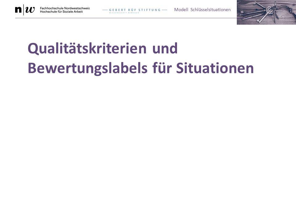 Modell Schlüsselsituationen Qualitätskriterien und Bewertungslabels für Situationen