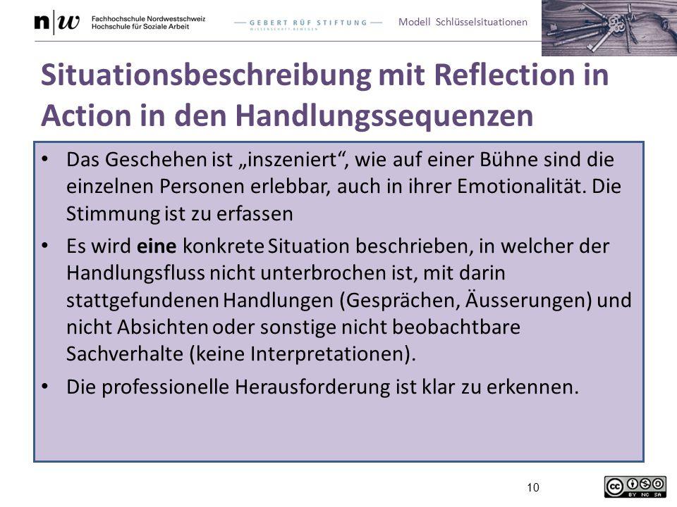 """Modell Schlüsselsituationen 10 Situationsbeschreibung mit Reflection in Action in den Handlungssequenzen Das Geschehen ist """"inszeniert , wie auf einer Bühne sind die einzelnen Personen erlebbar, auch in ihrer Emotionalität."""
