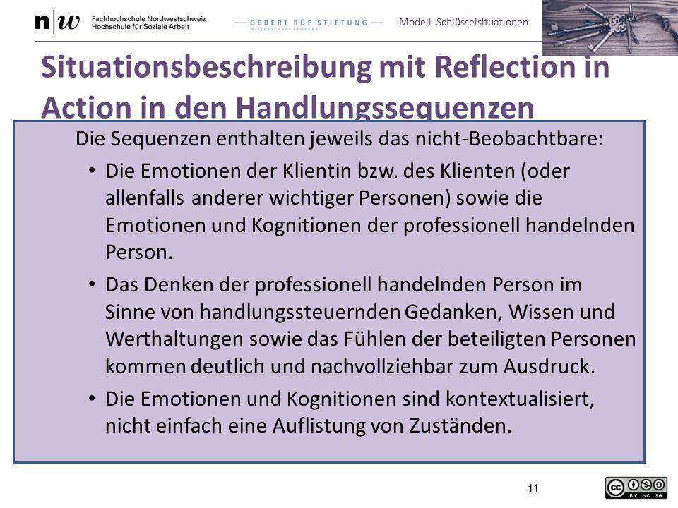 Modell Schlüsselsituationen 11 Situationsbeschreibung mit Reflection in Action in den Handlungssequenzen Die Sequenzen enthalten jeweils das nicht-Beobachtbare: Die Emotionen der Klientin bzw.