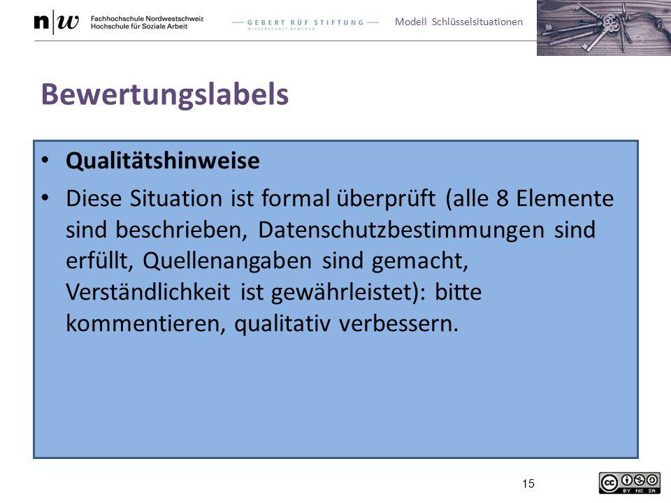 Modell Schlüsselsituationen 15 Bewertungslabels Qualitätshinweise Diese Situation ist formal überprüft (alle 8 Elemente sind beschrieben, Datenschutzbestimmungen sind erfüllt, Quellenangaben sind gemacht, Verständlichkeit ist gewährleistet): bitte kommentieren, qualitativ verbessern.