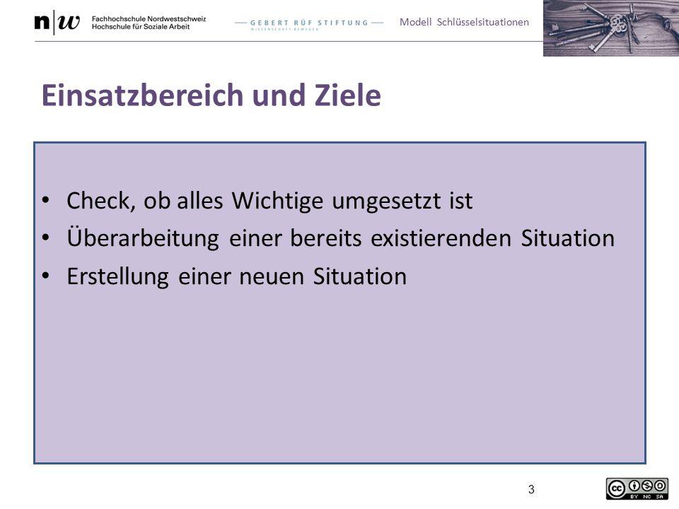 Modell Schlüsselsituationen 3 Einsatzbereich und Ziele Check, ob alles Wichtige umgesetzt ist Überarbeitung einer bereits existierenden Situation Erstellung einer neuen Situation