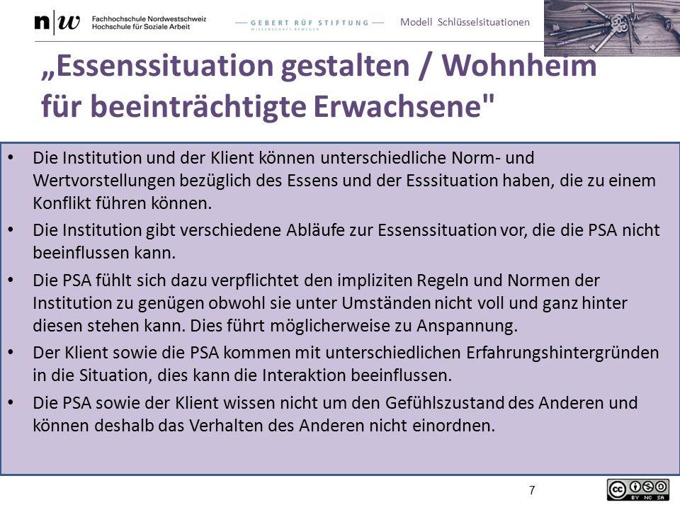 """Modell Schlüsselsituationen 7 """"Essenssituation gestalten / Wohnheim für beeinträchtigte Erwachsene"""