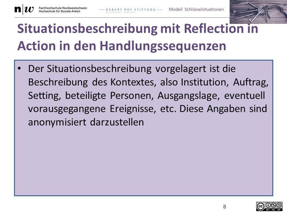 Modell Schlüsselsituationen 8 Situationsbeschreibung mit Reflection in Action in den Handlungssequenzen Der Situationsbeschreibung vorgelagert ist die Beschreibung des Kontextes, also Institution, Auftrag, Setting, beteiligte Personen, Ausgangslage, eventuell vorausgegangene Ereignisse, etc.