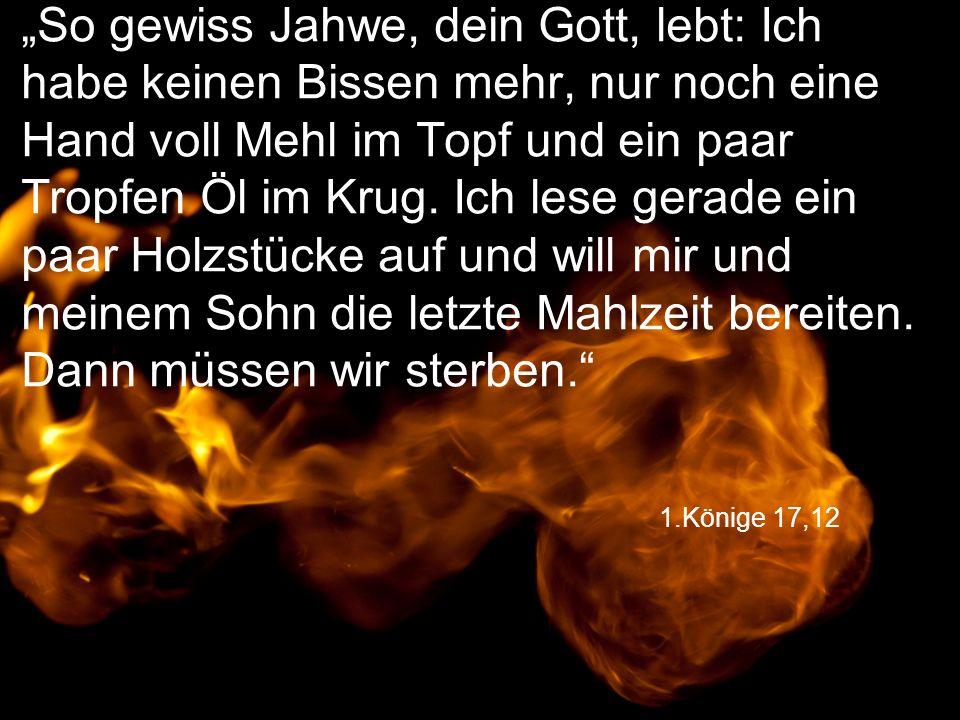 """1.Könige 17,12 """"So gewiss Jahwe, dein Gott, lebt: Ich habe keinen Bissen mehr, nur noch eine Hand voll Mehl im Topf und ein paar Tropfen Öl im Krug. I"""