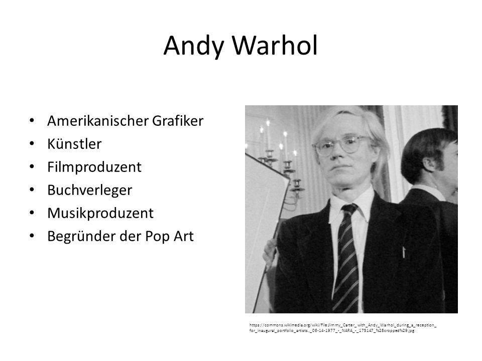 Andy Warhol Amerikanischer Grafiker Künstler Filmproduzent Buchverleger Musikproduzent Begründer der Pop Art https://commons.wikimedia.org/wiki/File:Jimmy_Carter_with_Andy_Warhol_during_a_reception_ for_inaugural_portfolio_artists.,_06-14-1977_-_NARA_-_175147_%28cropped%29.jpg