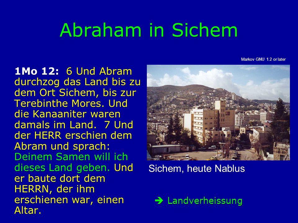 Abraham in Sichem 1Mo 12: 6 Und Abram durchzog das Land bis zu dem Ort Sichem, bis zur Terebinthe Mores. Und die Kanaaniter waren damals im Land. 7 Un